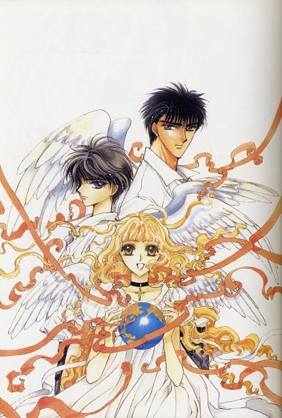 Tags: Anime, CLAMP, Geneon Pioneer, X, X Zero, Monou Fuuma, Monou Kotori, Shirou Kamui, Official Art, Mobile Wallpaper, Scan