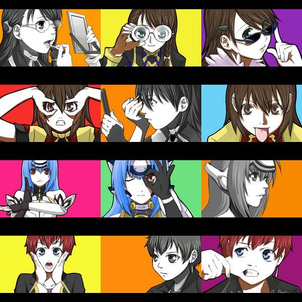 Tags: Anime, Namco, Geneon Pioneer, Xenosaga, KOS-MOS, Gaignun Kukai Jr., Shion Uzuki, A-ok, High School Girls (Parody), Miyuki Itsumi, Pinching, Glasses Gesture, Fanart