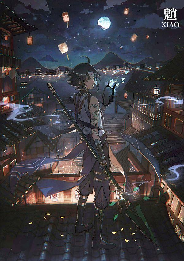 Tags: Anime, Lococo:p, Genshin Impact, Xiao (Genshin Impact), Lantern Festival, Paper Lantern, Sky Lanterns, Roof, Fanart From Pixiv, Pixiv, Revision, Fanart