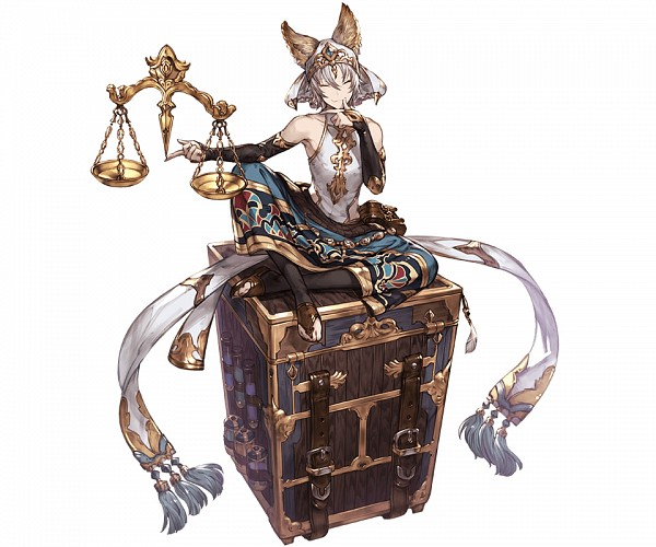 Tags: Anime, Minaba Hideo, Cygames, Granblue Fantasy, Xiao (Granblue Fantasy), Balance Scale, Test Tube, PNG Conversion, Official Art, Cover Image