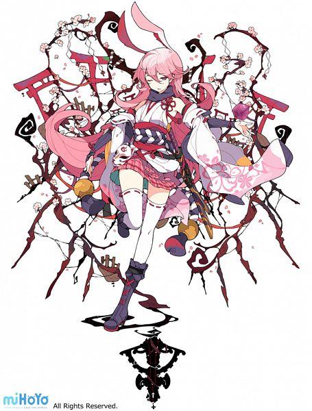 Tags: Anime, Ideolo, NEKO WORKi, miHoYo, Houkai 3rd, Yae Sakura (Houkai Gakuen), PNG Conversion, Official Art