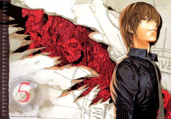 Tags: Anime, Obata Takeshi, DEATH NOTE, Calendar (Source), Official Art, Light Yagami
