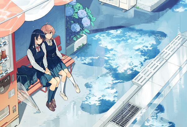 Tags: Anime, Nakatani Nio, Yagate Kimi ni Naru, Nanami Touko, Koito Yuu, Head on Shoulder, Water Reflection, Puddle, Pixiv, Official Art, Bloom Into You