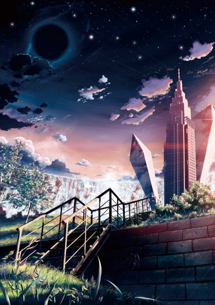 Tags: Anime, Yakkun, Skyscraper, Pixiv, Mobile Wallpaper