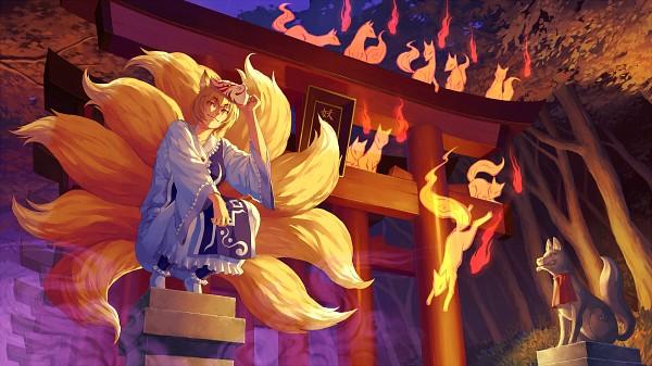 Tags: Anime, Carbohydrate, Touhou, Yakumo Ran, Shrine, Facebook Cover, Wallpaper, Pixiv, Fanart, Ran Yakumo