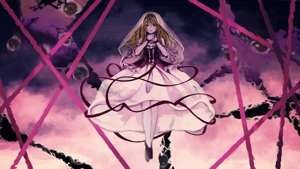 Tags: Anime, Geppewi, Touhou, Yakumo Yukari, Choking, Hand on Neck, Wallpaper, Pixiv, HD Wallpaper, Facebook Cover, Yukari Yakumo