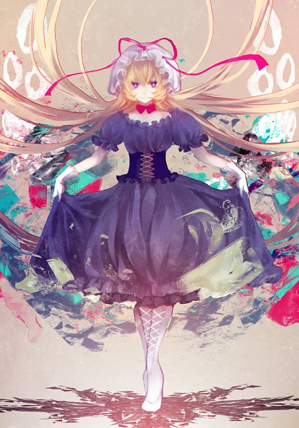 Tags: Anime, mirimo, Touhou, Yakumo Yukari, Curtsey, Abstract Background, Standing On Tip Toes, Pixiv, Fanart From Pixiv, Mobile Wallpaper, PNG Conversion, Fanart, Yukari Yakumo