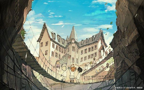 Tags: Anime, Demizu Posuka, Yakusoku no Neverland, Ray (Yakusoku no Neverland), Norman (Yakusoku no Neverland), Emma (Yakusoku no Neverland), Official Art, Scan, The Promised Neverland