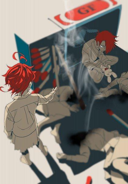 Tags: Anime, Pixiv Id 21075262, Yakusoku no Neverland, Ray (Yakusoku no Neverland), Emma (Yakusoku no Neverland), Match Stick, Fanart From Pixiv, Pixiv, Fanart, The Promised Neverland