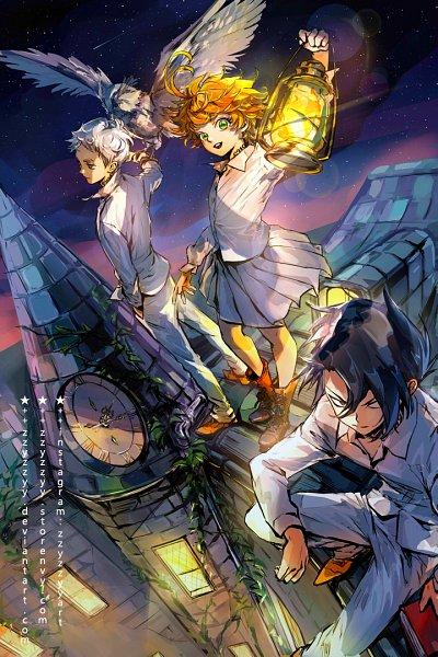 Tags: Anime, zzyzzyy, Yakusoku no Neverland, Ray (Yakusoku no Neverland), Norman (Yakusoku no Neverland), Emma (Yakusoku no Neverland), Roof, Animal on Hand, Bird on Hand, Fanart, Fanart From Pixiv, Pixiv, The Promised Neverland