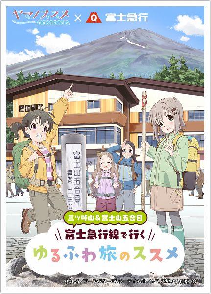 Tags: Anime, 8-bit (Studio), Yama no Susume, Saitou Kaede, Aoba Kokona, Kuraue Hinata, Yukimura Aoi, Official Art, Mobile Wallpaper, PNG Conversion, Encouragement Of Climb