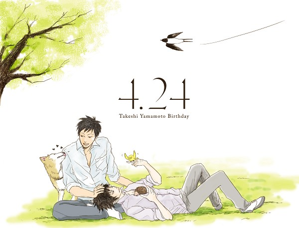Tags: Anime, Pixiv Id 1738187, Katekyo Hitman REBORN!, Yamamoto Takeshi, Kojirou (KHR), Jirou (KHR), Hibari Kyoya, Hibird, Roll (KHR), Laying on Grass, Hedgehog, Swallow, Fanart