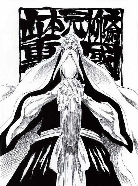 Tags: Anime, Kubo Tite, All Colour But The Black, BLEACH, Yamamoto-Genryuusai Shigekuni, Manga Page, Zanpakutou, Chapter Cover, Line Art, Official Art, Scan, Gotei 13, 1st Squad