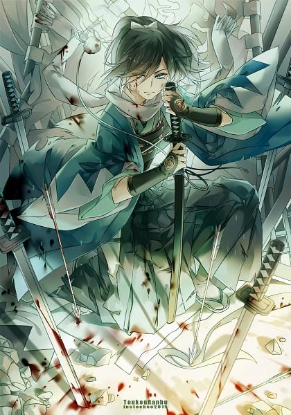 Tags: Anime, INstockee, Touken Ranbu, Yamato no Kami Yasusada, Blood On Weapons, Uchigatana, deviantART, Fanart, Mobile Wallpaper, Fanart From DeviantART, PNG Conversion