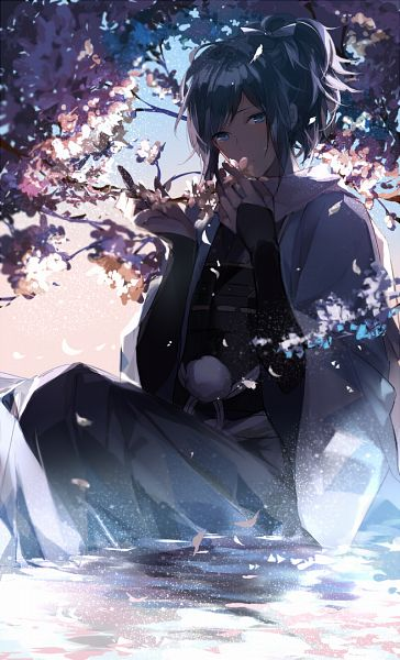 Tags: Anime, Pixiv Id 13732816, Touken Ranbu, Yamato no Kami Yasusada, Sitting In Water, Fanart, Fanart From Pixiv, Mobile Wallpaper, PNG Conversion, Pixiv