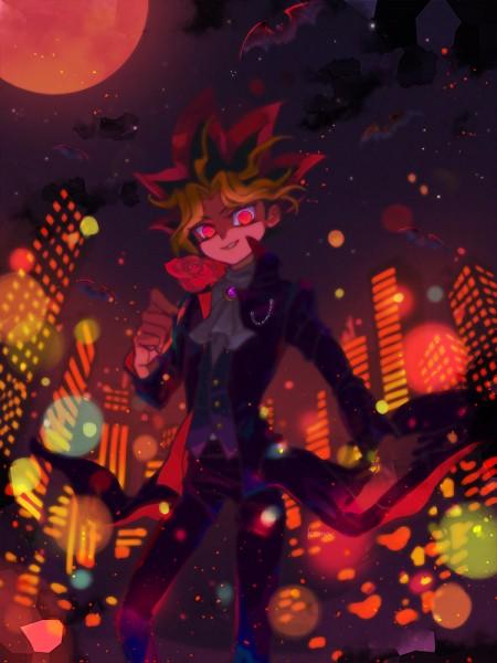 Tags: Anime, Pixiv Id 14568312, Yu-Gi-Oh! Season Zero, Yu-Gi-Oh!, Yami Yugi, Red Moon, Vampire Costume, Bokeh, Skyscraper, PNG Conversion, Mobile Wallpaper, Fanart, Twitter