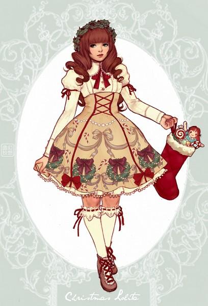 Tags: Anime, Yasahime, Christmas Stocking, Laurel Wreath, Mobile Wallpaper, Original, deviantART