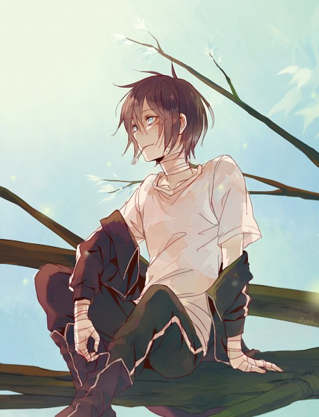 Tags: Anime, Ryethe, Noragami, Yato (Noragami), Bandaged Neck, Fanart, Tumblr, PNG Conversion