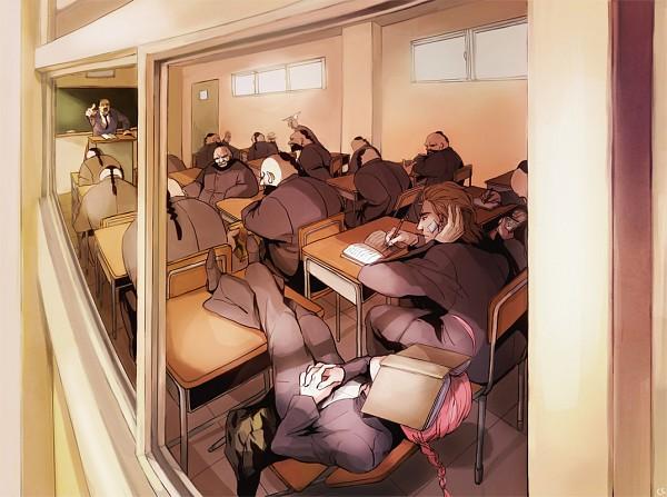Tags: Anime, Chacall, Gintama, Umibouzu (Gin Tama), Ungyou, Kamui (Gin Tama), Abuto, Chalkboard, School Desk, Writing, 3z, Pixiv, Yato Clan