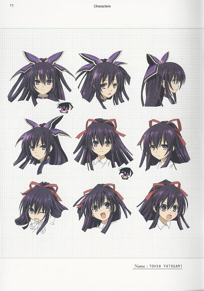 Tags: Anime, Ishino Satoshi, AIC PLUS+, Date A Live, Yatogami Tohka, Official Art, Character Sheet, Scan