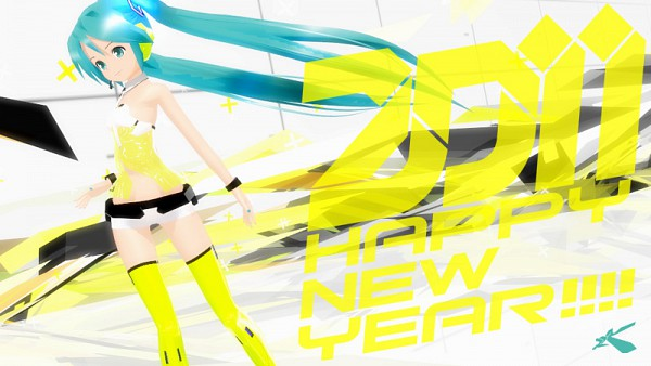 Tags: Anime, Project DIVA 2nd, VOCALOID, Hatsune Miku, Lat, Happy 2011, Project DIVA Yellow, Yellow (Song)