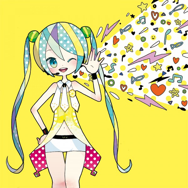 Tags: Anime, Kagimaru Chisuke, Project DIVA 2nd, VOCALOID, Hatsune Miku, Smiley Face, Yellow (Song), Pixiv, Project DIVA Yellow