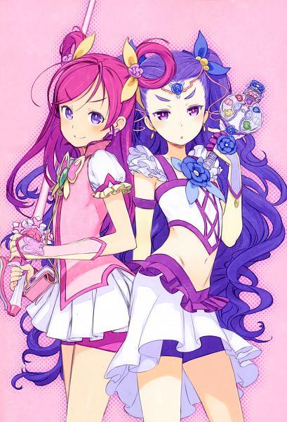 Tags: Anime, Kuroboshi Kouhaku, Yes! Precure 5, GRANADA LEVEL P, Yumehara Nozomi, Milky Rose, Mimino Kurumi, Cure Dream, Purple Shorts, Fanart, Scan