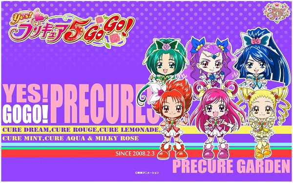 Tags: Anime, Yes! Precure 5, Cure Aqua, Minazuki Karen, Cure Lemonade, Cure Mint, Natsuki Rin, Mimino Kurumi, Milky Rose, Yumehara Nozomi, Cure Rouge, Kasugano Urara, Cure Dream