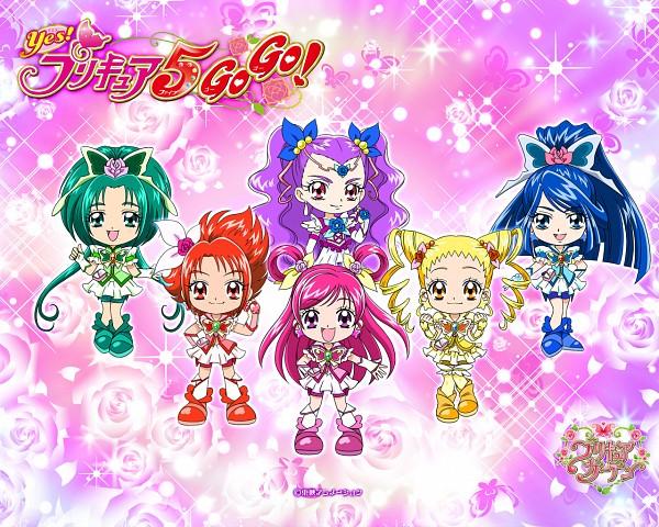 Tags: Anime, Toei Animation, Yes! Precure 5, Natsuki Rin, Mimino Kurumi, Milky Rose, Yumehara Nozomi, Cure Rouge, Kasugano Urara, Cure Dream, Akimoto Komachi, Cure Aqua, Minazuki Karen