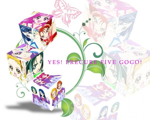 Tags: Anime, Wanco, Yes! Precure 5, Natsuki Rin, Cure Rouge, Milky Rose, Yumehara Nozomi, Cure Dream, Cure Lemonade, Kasugano Urara, Akimoto Komachi, Milk (Pretty Cure), Cure Aqua