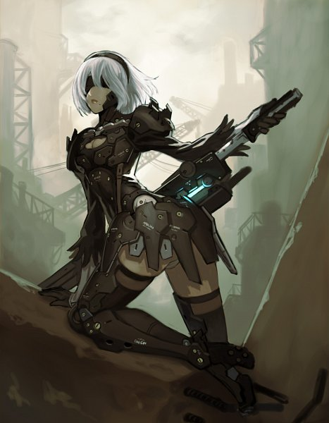 Tags: Anime, Pixiv Id 1014148, NieR: Automata, YoRHa No.2 Type B, родинка, Raiden (Cosplay), Metal Gear Solid (Parody), Fanart From Pixiv, Pixiv, Fanart