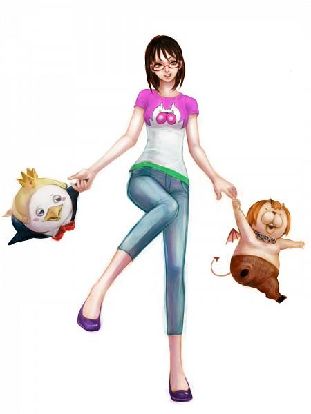 Tags: Anime, Erichika, Yondemasuyo Azazel-san, Beelzebub (Yondemasuyo Azazel-san), Azazel, Sakuma Rinko, Pixiv, Fanart, Fanart From Pixiv