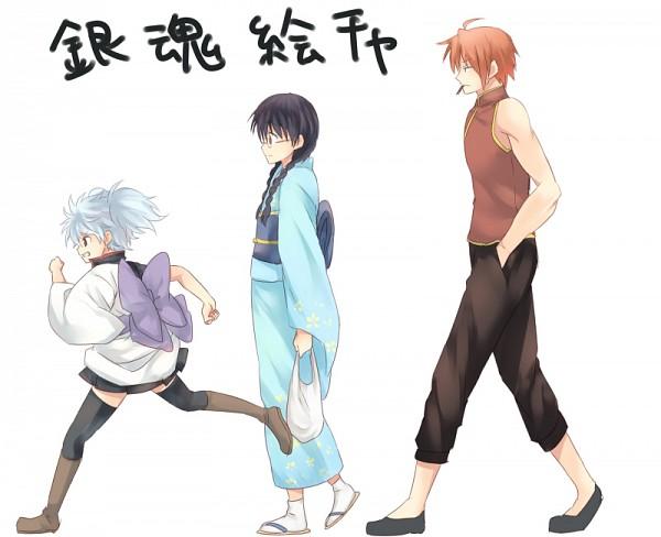 Tags: Anime, Punchiki, Gintama, Kagura (Gin Tama), Shimura Shinpachi, Paako, Sakata Gintoki, Kombu, Wig, Pixiv, Fanart, Fanart From Pixiv, Yorozuya