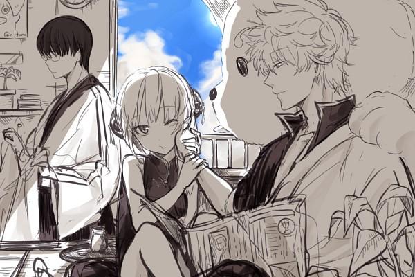 Tags: Anime, mery (dpqpqp550), Gintama, Shimura Shinpachi, Sakata Gintoki, Sadaharu, Kagura (Gin Tama), Ko Elizabeth Print, Age Difference, Newspaper, Fanart, PNG Conversion, Pixiv