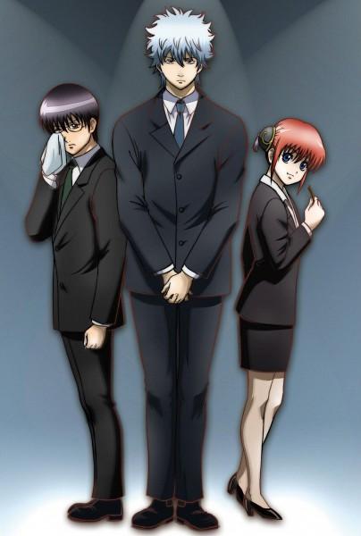 Tags: Anime, Gintama, Kagura (Gin Tama), Shimura Shinpachi, Sakata Gintoki, Kombu, Official Art, Yorozuya