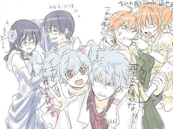 Tags: Anime, Punchiki, Gintama, Shimura Shinpachi, Paako, Sakata Gintoki, Kagura (Gin Tama), Pachie, Wig, Pixiv, Fanart, Yorozuya