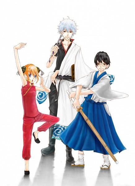Tags: Anime, Gintama, Sakata Gintoki, Kagura (Gin Tama), Shimura Shinpachi, Shinai, Artist Request, Kabukicho Four Devas Arc, Yorozuya