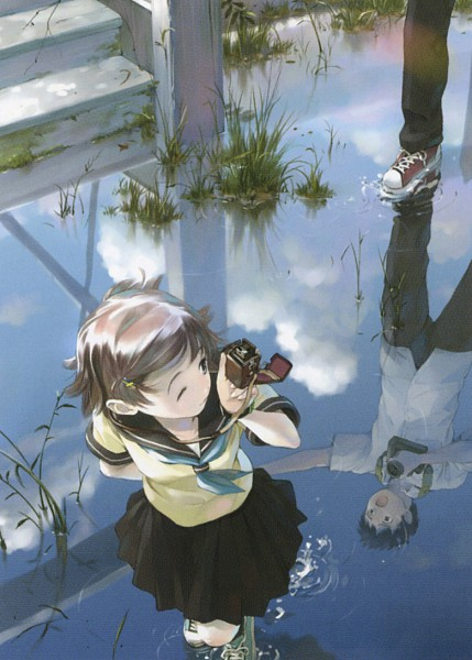 Tags: Anime, Yoshizuki Kumichi, 100 Masters of Bishoujo Painting, Water Reflection, Pixiv, Mobile Wallpaper