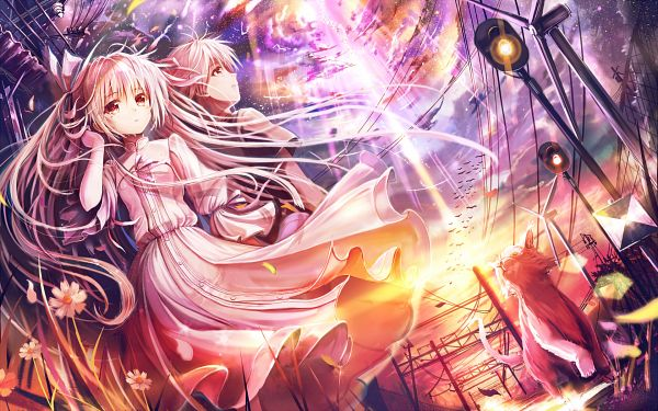 Tags: Anime, Akabane (Zebrasmise), Sphere (Studio), CUFFS Sphere CUBE WALLPAPER COLLECTION 2012, Yosuga no Sora, Kasugano Haruka, Kasugano Sora, Fanart, Wallpaper, Sky Of Connection