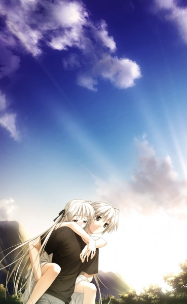 Tags: Anime, Yosuga no Sora, Kasugano Haruka, Kasugano Sora, Twincest, Mobile Wallpaper, CG Art, Sky Of Connection