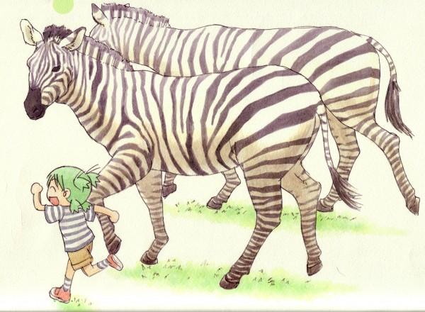 Tags: Anime, Azuma Kiyohiko, Yotsuba&!, Koiwai Yotsuba, Zebra, Quad Tails, Official Art