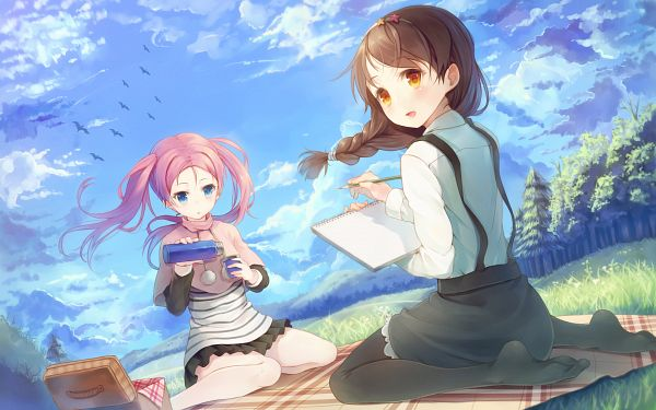 Tags: Anime, Paseri, CUBE (Studio), CUFFS Sphere CUBE WALLPAPER COLLECTION 2012, Your Diary, Hirosaki Kanade, Fujimura Natsuki, Picnic, Picnic Basket, Wallpaper