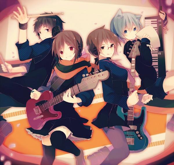 Tags: Anime, Miwasiba, Yozakura Quartet, Isone Kotoha, Nanami Ao, Hiizumi Akina, Yarizakura Hime, Nejomimi, Drumsticks, Electric Guitar, Pixiv, Fanart, Fanart From Pixiv