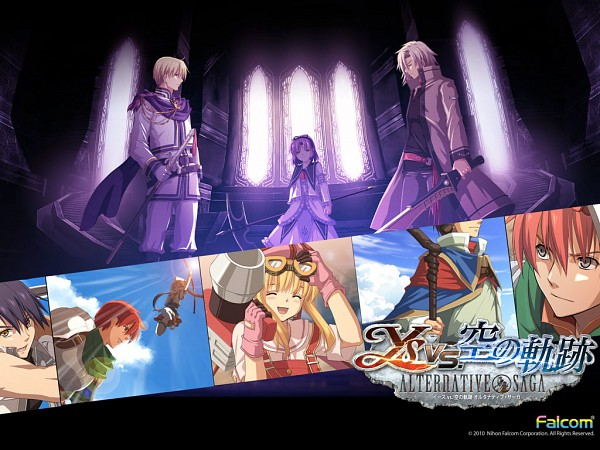 Tags: Anime, Falcom, Ys vs. Sora no Kiseki: Alternative Saga, Eiyuu Densetsu VI: Sora no Kiseki, Ys, Joshua Astray, Estelle Bright, Adol Christin, Leonhardt (Sora no Kiseki), Renne (Sora no Kiseki), Tita Russell, Wallpaper, Official Art