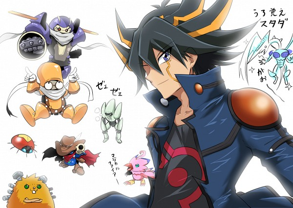 Tags: Anime, Chipa (Arutana), Digimon Adventure, Yu-Gi-Oh! 5D's, Yu-Gi-Oh!, Junk Warrior, Quickdraw Synchron, Quillbolt Hedgehog, Piyomon, Junk Synchron, Stardust Dragon, Yusei Fudo, Speed Warrior