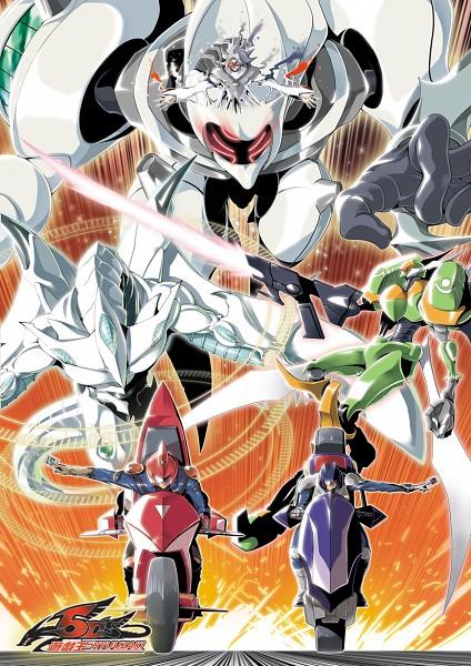 Tags: Anime, Pixiv Id 2015281, Yu-Gi-Oh! 5D's, Yu-Gi-Oh!, Shooting Star Dragon, Yusei Fudo, Meklord Emperor Wisel, Bruno, Placido, T.G. Blade Blaster, Motorcycle Helmet, Duel Runner, Fanart