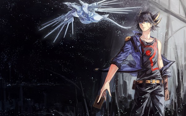 Tags: Anime, Rozy, Yu-Gi-Oh! 5D's, Yu-Gi-Oh!, Yusei Fudo, Majestic Star Dragon, Pixiv, Fanart From Pixiv, Fanart