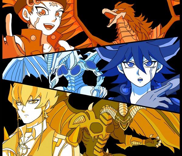 Tags: Anime, Pixiv Id 5015593, Yu-Gi-Oh! 5D's, Yu-Gi-Oh!, Crow Hogan, Jack Atlas, Black-Winged Dragon, Yusei Fudo, Red Dragon Archfiend, Stardust Dragon, Fanart From Pixiv, PNG Conversion, Fanart