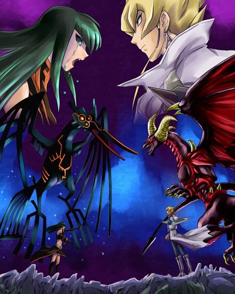 Tags: Anime, Ashi Ura, Yu-Gi-Oh! 5D's, Yu-Gi-Oh!, Red Dragon Archfiend, Earthbound Immortal Aslla Piscu, Carly Nagisa, Jack Atlas, Dark Signer Uniform, Fanart From Pixiv, Pixiv, PNG Conversion, Fanart
