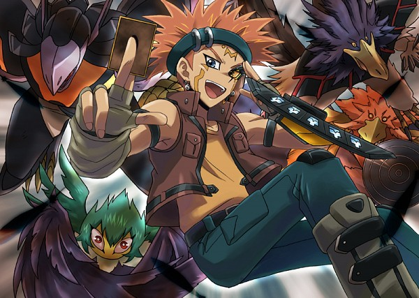 Tags: Anime, Pixiv Id 1394340, Yu-Gi-Oh! 5D's, Yu-Gi-Oh!, Blackwing - Bora the Spear, Crow Hogan, Blackwing - Gale the Whirlwind, Blackwing - Sirocco the Dawn, Blackwing Armor Master, Mouthless, Fanart, Pixiv, Fanart From Pixiv